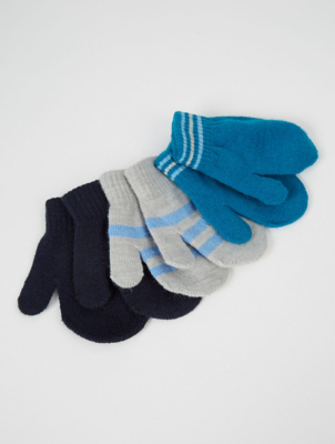 Blue Grey and Navy Mittens 3 Pack