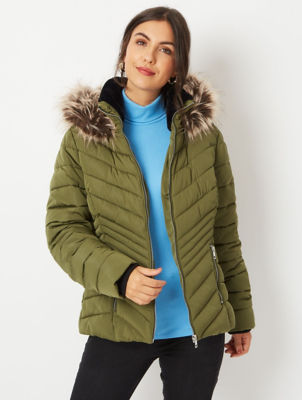 Khaki Faux Fur Trim Chevron Padded Coat