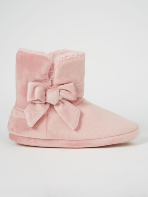 Pink Plush Bow Slipper Boots