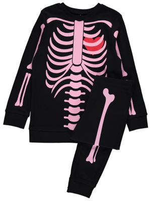 Pink Skeleton Glow In The Dark Halloween Pyjamas