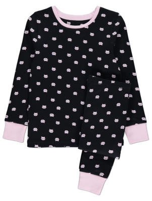 Black and Pink Cat Face Print Pyjamas