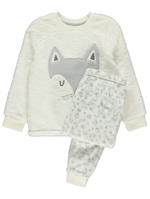 White Arctic Fox Fleece Pyjamas Gift Set