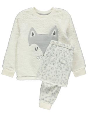 White Arctic Fox Fleece Pyjamas Gift Set