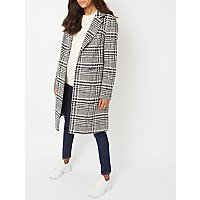 maternity-black-checked-longline-coat by asda