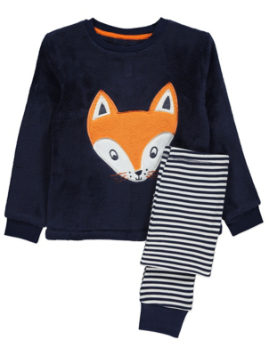 Navy Fleece Fox Pyjamas Gift Set