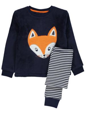 Navy Fleece Fox Pyjamas Gift Set