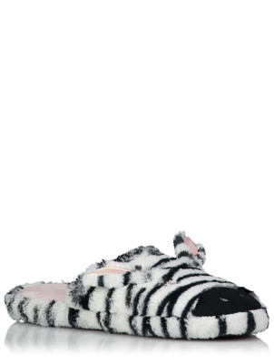 Zebra Plush Mule Slippers