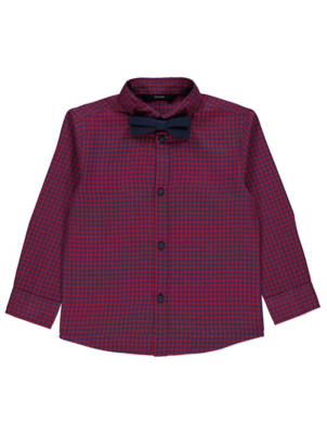 Red Micro Check Shirt with Bow Tie