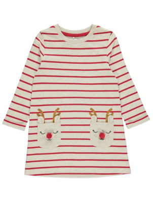 Red Stripy Reindeer Pocket Christmas Dress