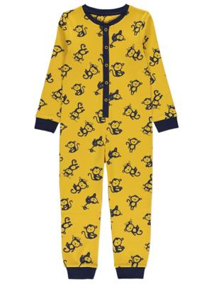 Yellow and Navy Monkey Print Onesie