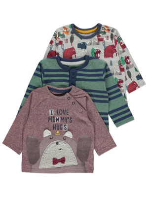 Brown Bear Print Tops 3 Pack