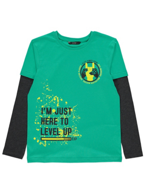 Green Gamer Slogan Mock Layered Top