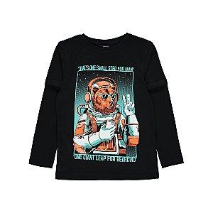 Black Bear Astronaut Long Sleeve Top