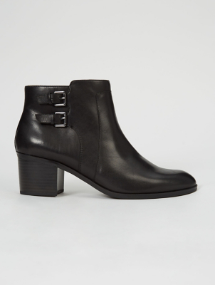 Double Buckle Black Leather Chelsea Boots