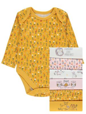 Mustard Hedgehog Print Long Sleeve Bodysuits 7 Pack
