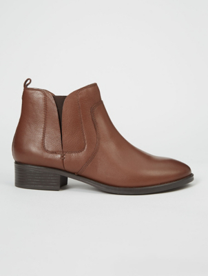 Wide Fit Tan Brown Leather Chelsea Boots