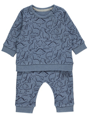 Blue Dinosaur Print Sweatshirt and Joggers Outfit