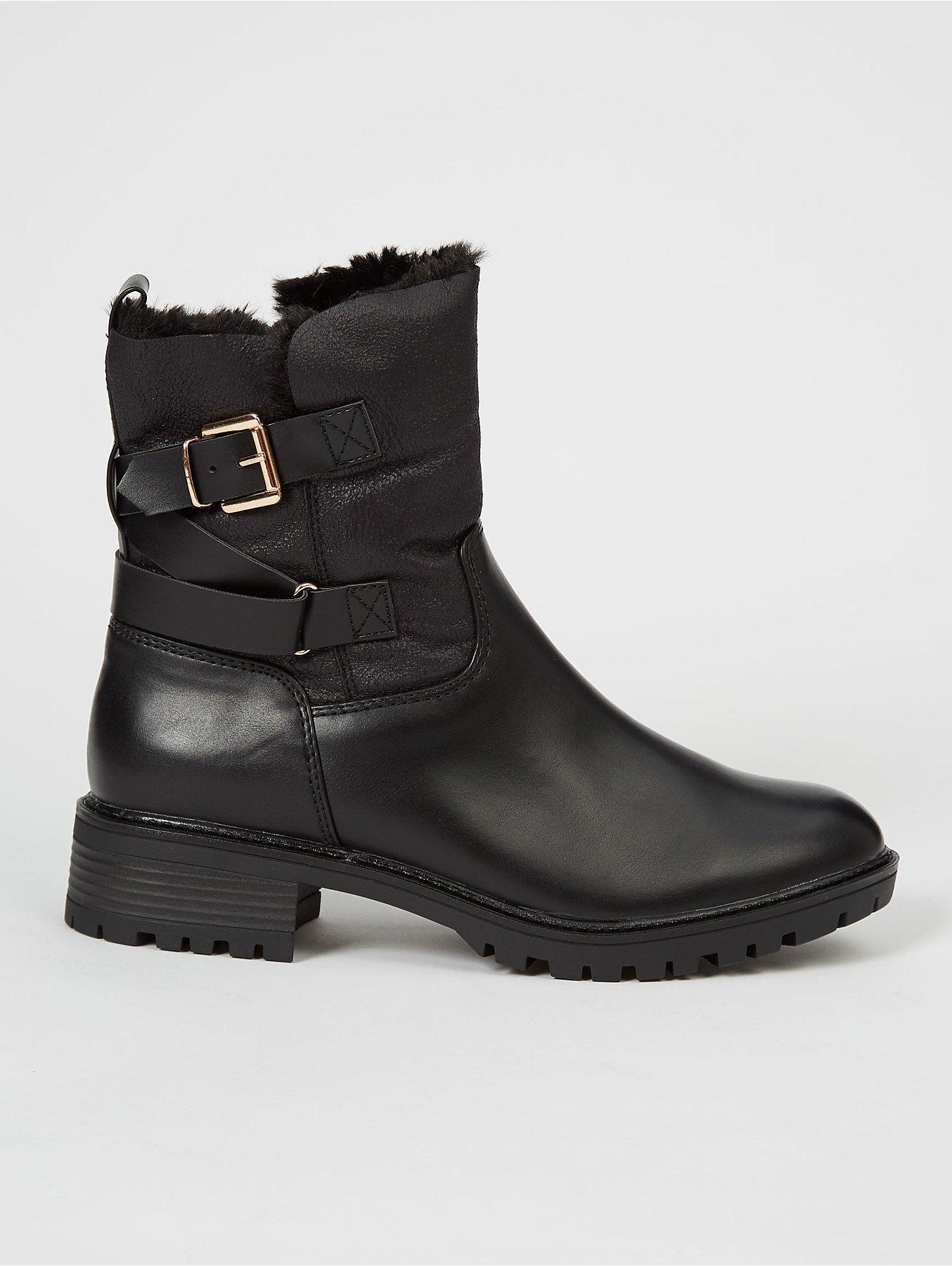 womens ankle biker boots fur lining