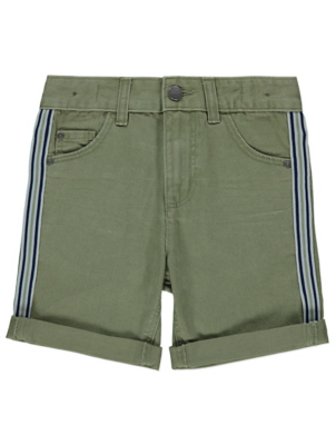 Khaki Denim Stripe Shorts