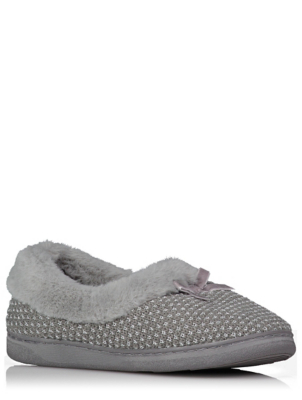 Grey Sparkle Woven Faux Fur Fullback Slippers