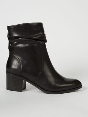 Black Ruched Leather Block Heel Ankle Boots