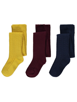 Super Soft Cable Knit Tights 3 Pack