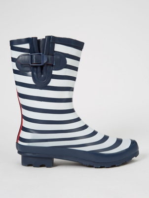 Navy Nautical Stripe Calf High Wellington Boots