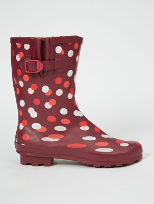 Burgundy Polka Dot Wellington Boots