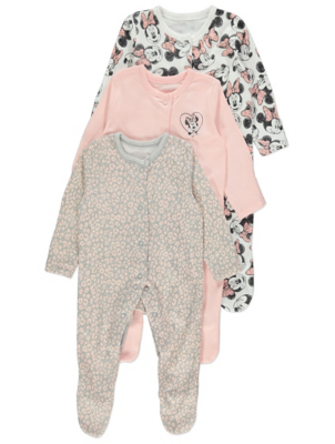Disney Minnie Mouse Pink Sleepsuits 3 Pack