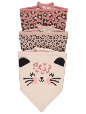 Pink Leopard Print Dribble Bibs 3 Pack