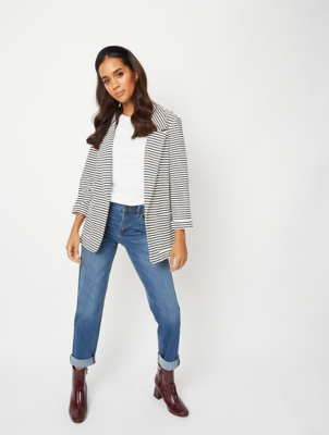 White Striped Woven Ribbed Blazer