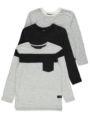 Grey and Black Assorted Long Sleeve Tops 3 Pack