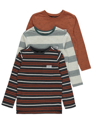 Assorted Striped Long Sleeve Tops 3 Pack