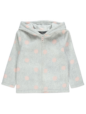 Pink and Grey Polka Dot Fleece Hoodie