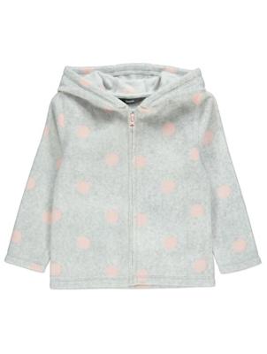 Pink and Grey Polka Dot Fleece Hoodie