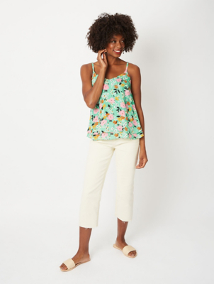 Green Floral Strappy Back Double Layer Camisole
