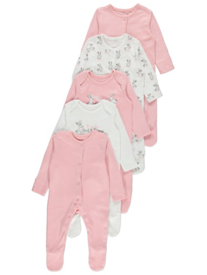 Pink and White Bunny Rabbit Print Sleepsuits 5 Pack