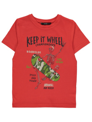 Red Skeleton Keep it Wheel Slogan Print T-Shirt