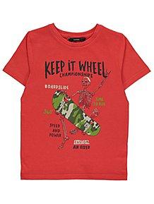 f0863e93a Red Skeleton Keep it Wheel Slogan Print T-Shirt