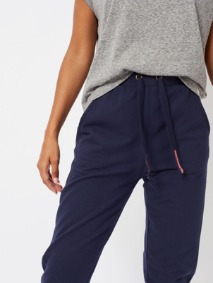 Navy Embroidered Trim Slim Joggers