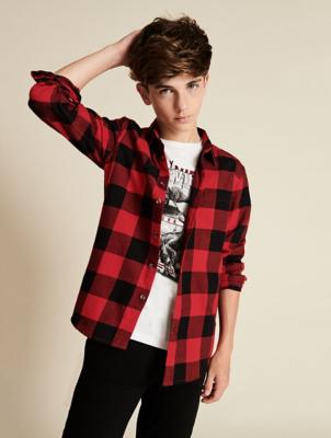 Red Check Shirt and Printed T-Shirt Set