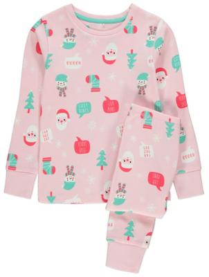 Pink Santa Claus Print Christmas Pyjamas