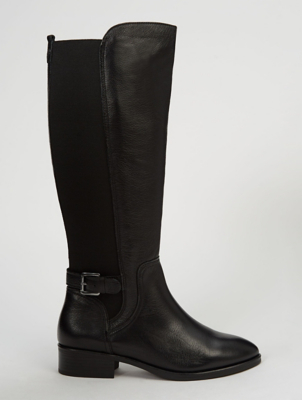 Black Wide Fit Leather Knee High Panelled Boots