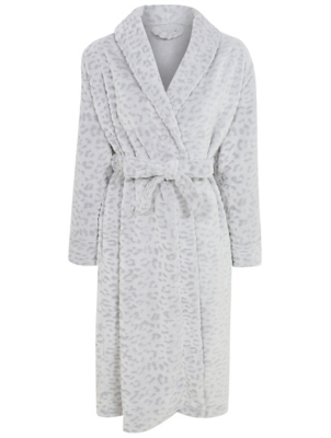 Grey Leopard Print Textured Dressing Gown