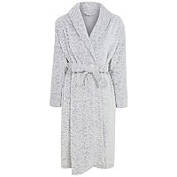 Grey Leopard Print Textured Dressing Gown by Asda