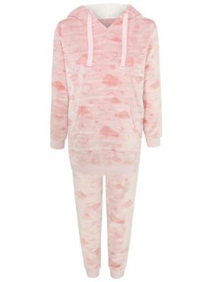 Pink Fleece Cloud Print Twosie