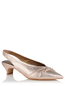 df00e7917d36 Rose Gold Shimmer Pointed Slingback Kitten Heels