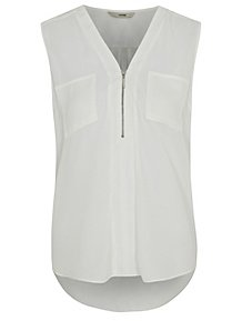 f15a286b85ec8a White Zip Front Sleeveless Blouse