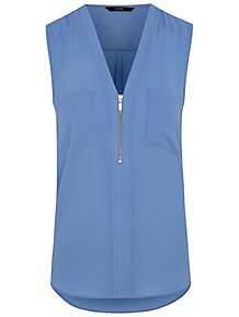 d5738371f Blue Zip Front Sleeveless Blouse