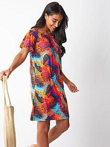 76d55356d2 Orange Palm Print Shirred Bardot Dress